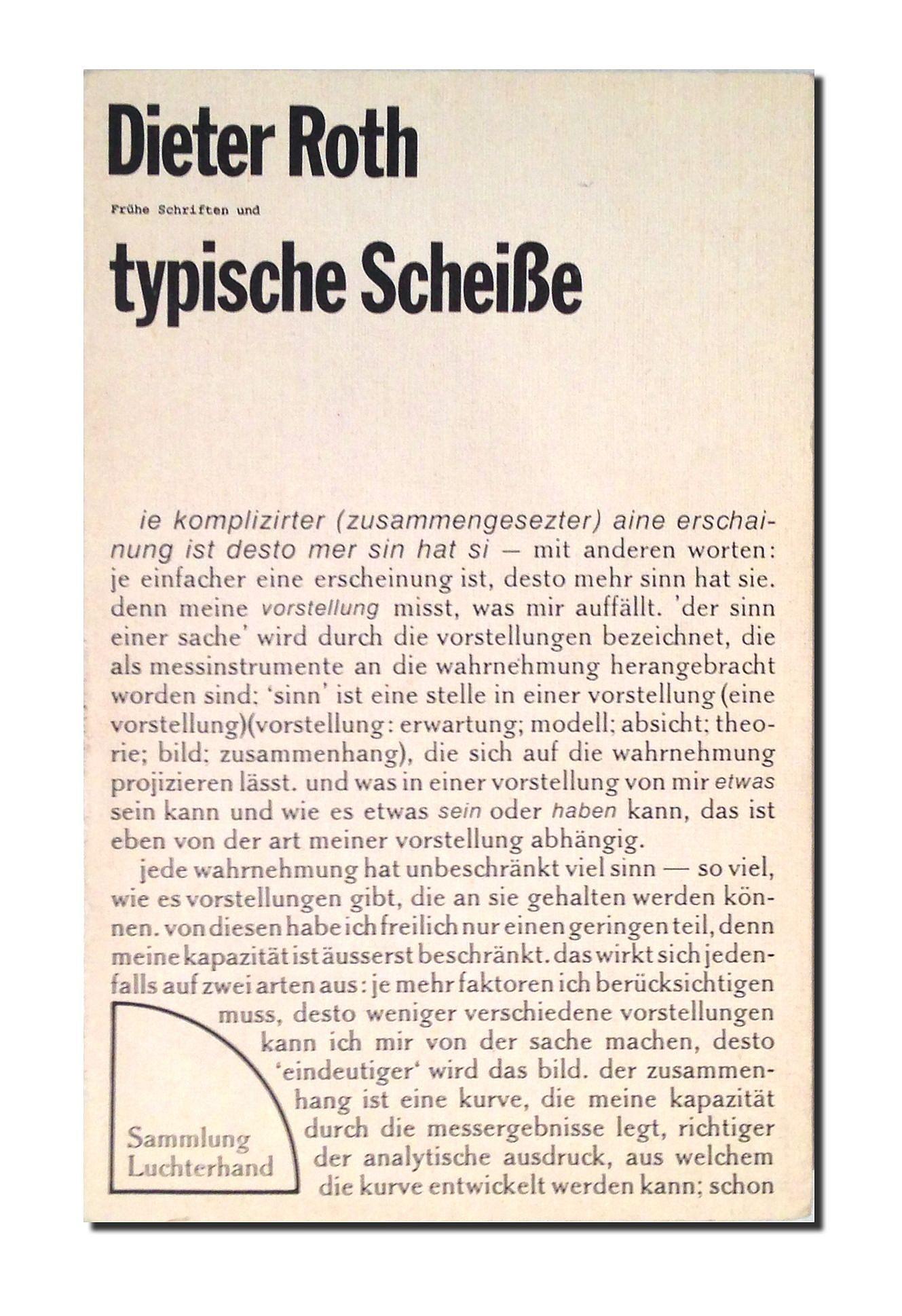 Dieter Roth Scheisse Serie Die Gesamte Scheisse Gedichte